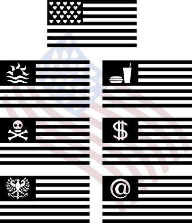 stencils of fantasy usa flags. second variant. vector illustration Ilustrace