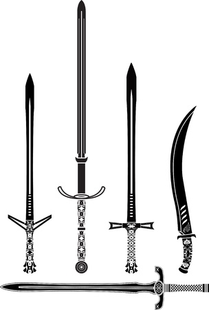 stencils of medieval swords. vector illustration Stock Vector - 19578605