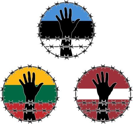 prisoner of war: Violation of human rights in Baltic states. vector illustration