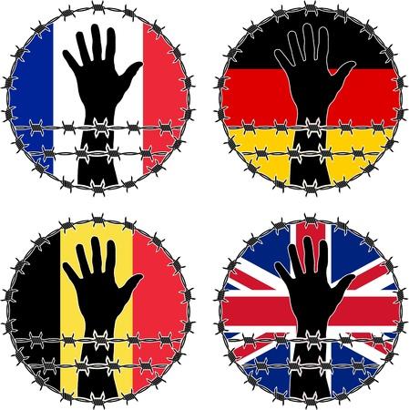 prisoner of war: Violation of human rights in European countries. vector illustration