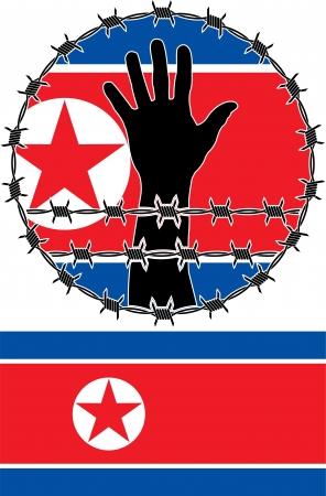 violaci�n: Violaci�n de los derechos humanos en Corea del Norte. ilustraci�n vectorial
