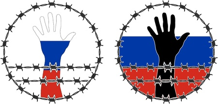 barbwire: Violation of human rights in Russia. vector illustration