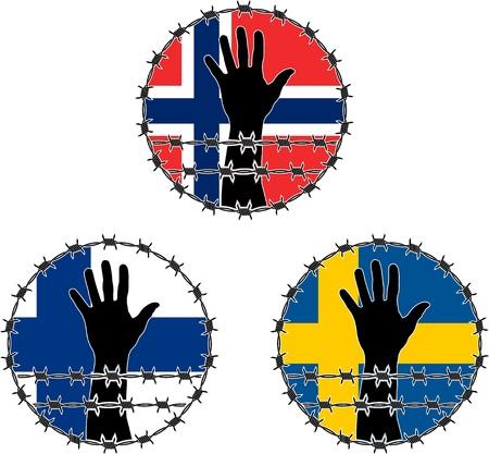 captivity: Violation of human rights in Scandinavian. vector illustration