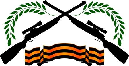 georgievsy ribbon and sniper rifles  second variant  vector illustration  Illustration