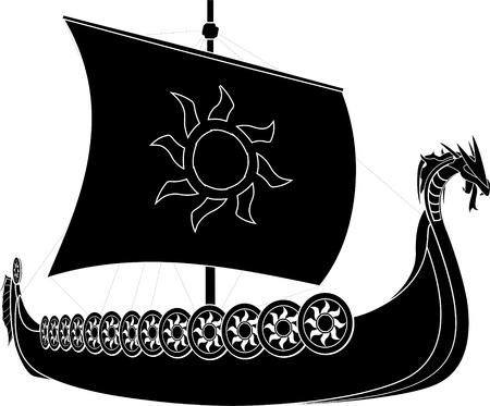vikingo: Barcos Vikingos plantilla segunda variante de ilustración vectorial Vectores