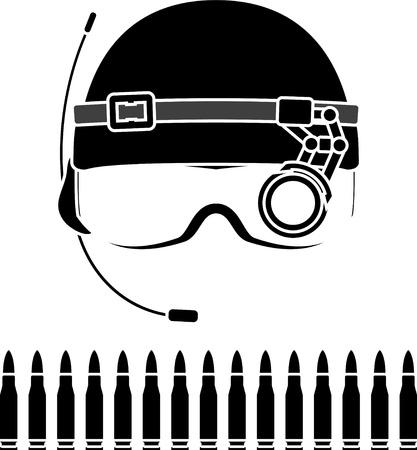 ammunition: stencil of kombat helmet  vector illustration Illustration
