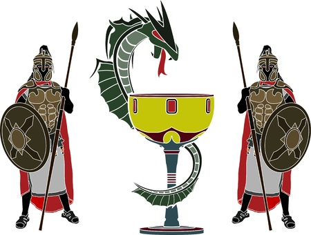 holy grail and guardians  stencil  vector illustration Stock Vector - 20233127