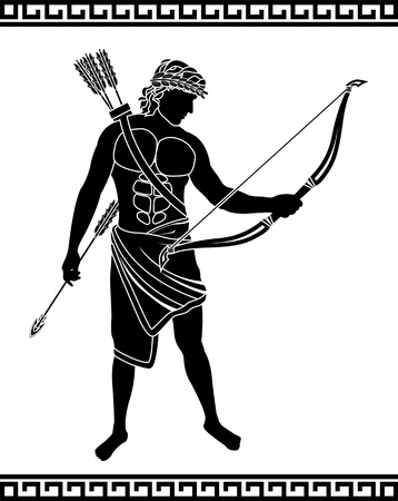 ancient greek: ancient bowman  stencil illustration  Illustration