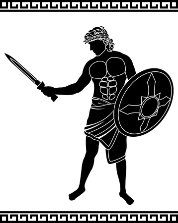 ancient swordsman  stencil illustration  Vector