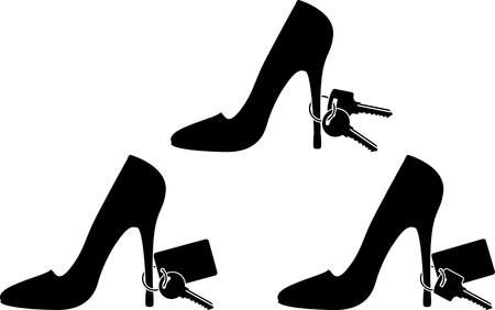 calzado de seguridad: zapatos de mujer s y teclas plantillas segunda variante de ilustraci�n Vectores