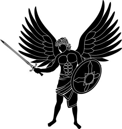 ange gardien: ange pochoir première illustration vectorielle variante