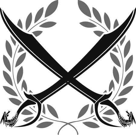 iron cross: dragon sabers and laurel wreath  stencil  vector illustration Illustration