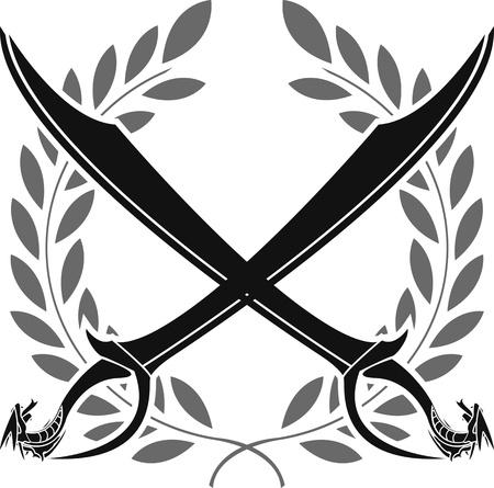 croix de fer: sabres dragon et couronne de laurier illustration vectorielle pochoir