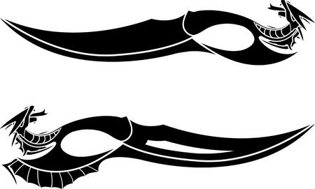 tatouage dragon: dragons poignards pochoirs illustration vectorielle Illustration