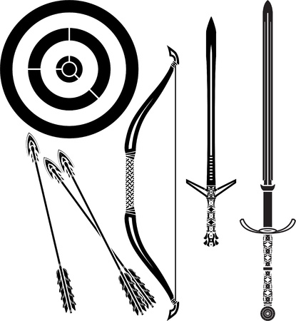 medieval bow and swords  stencil  vector illustration