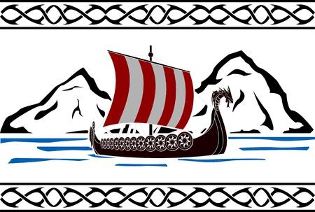 vikingo: plantilla de barco vikingo variante segunda ilustración vectorial