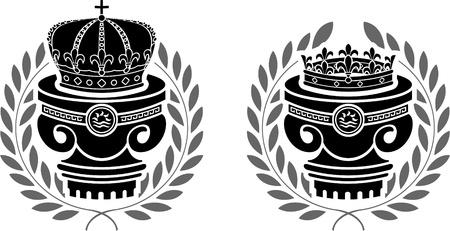 pedestals of crowns  stencils  second variant  vector illustration Stock Vector - 21398507