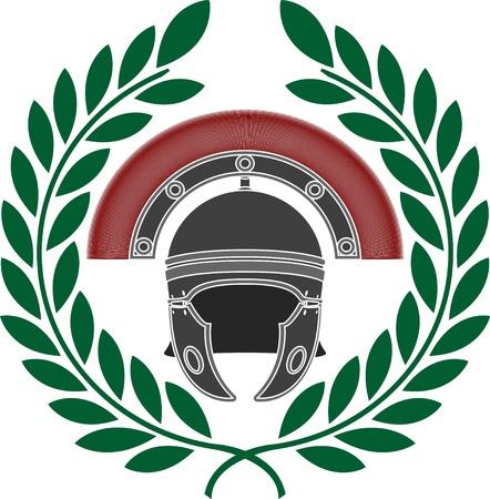roman helmet and wreath  stencil  illustration  Vector