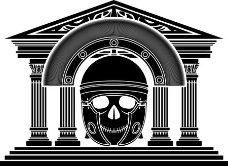 past civilization: skull of roman centurion  illustration