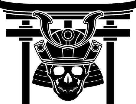 skull of samurai and torii gate  illustration