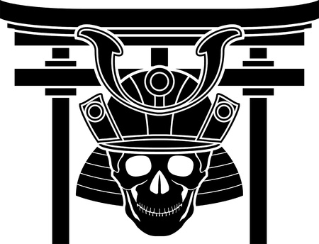 torii: skull of samurai and torii gate  illustration