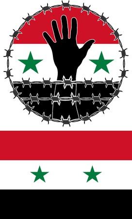 mani legate: violazione dei diritti umani in Siria illustrazione
