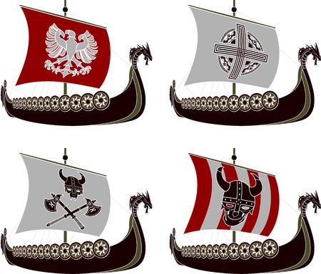 vikingo: conjunto de viking drakkars stencils ilustraci�n Vectores