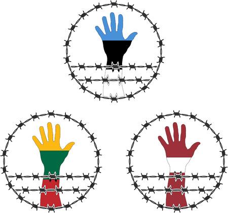 prisoner of war: signs of occupation of the baltic states  illustration