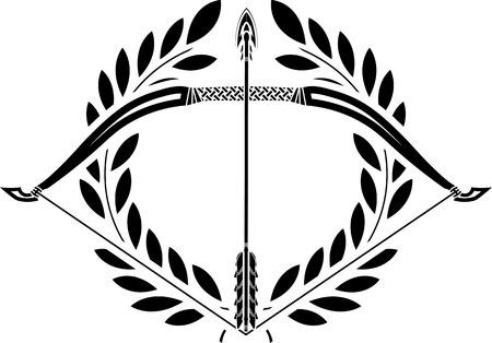 arco y flecha: arco y corona de laurel ilustración stencil Vectores