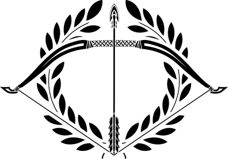 archer of bow: bow and laurel wreath  stencil  illustration