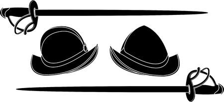 conquest: spanish helmets  stencil  illustration