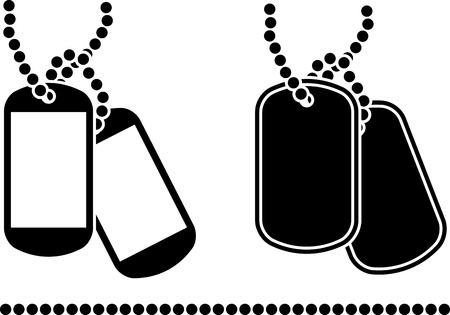 military silhouettes: stencils of dog tags  illustration