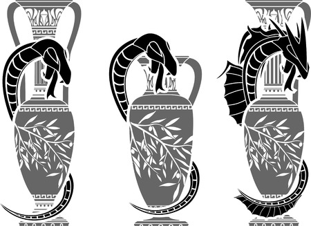 amphora: snakes with jugs  stencil  second variant  vector illustration  Illustration