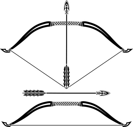 longbow: stencils of bow  vector illustration
