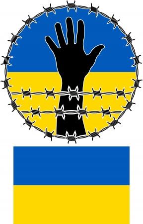 prisoner of war: violation of human rights in ukraine illustration Illustration