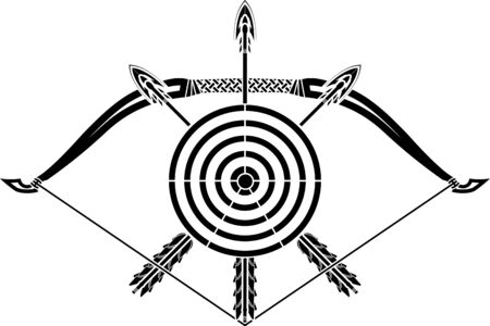archer of bow: bow and arrows  stencil  vector illustration  Illustration
