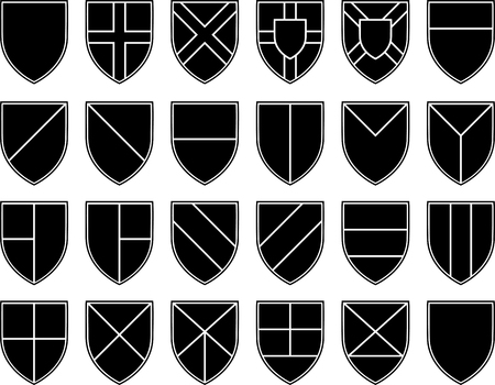 knighthood: divisions of the shield  stencils   vector illustration