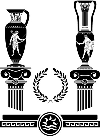 roman mythology: stencil of ancient columns and jugs  vector illustration Illustration