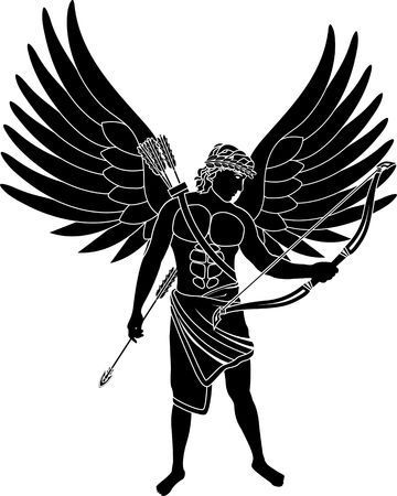 roman mythology: angel  stencil  second variant  vector illustration