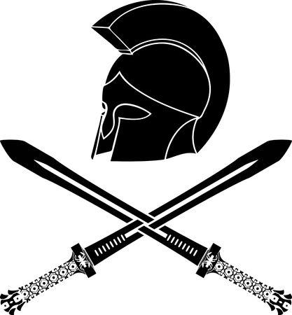 fantasy barbarian helmet with swords  stencil  third variant  vector illustration