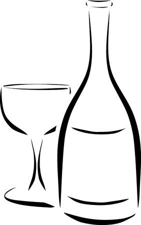 martini glass: bottle and wineglass illustration Illustration