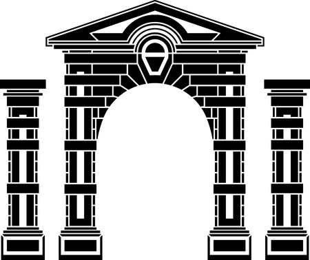 archway: fantasy arch and columns  stencil  eighth variant  vector illustration Illustration