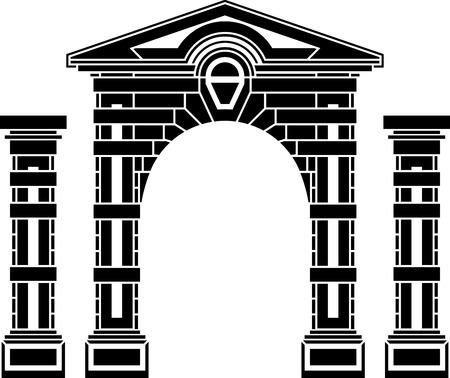 archway: fantasy arch and columns  stencil  eighth variant  vector illustration Illustration