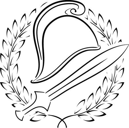 phrygian: macedonian phrygian helmet with laurel wreath  vector illustration