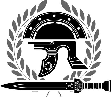 traditional weapon: roman helmet  stencil  fifth variant  vector illustration Illustration