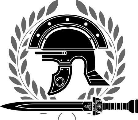 bird  celtic: roman helmet  stencil  fifth variant  vector illustration Illustration