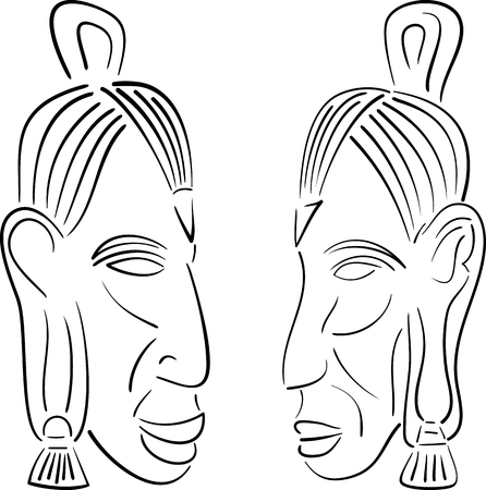 moai: sketches of indians  vector illustration