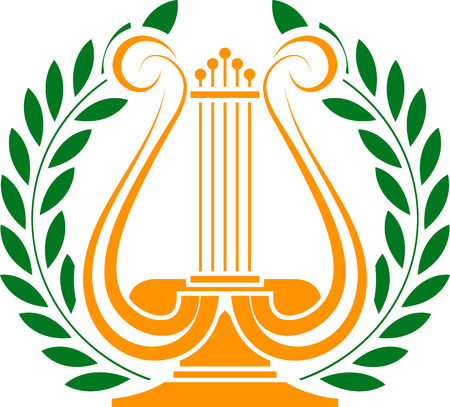 lyra: stencil of lyre and laurel wreath  vector illustration