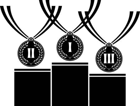 pedestal with medals  vector illustration  Vector