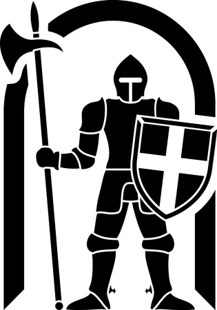 crusader: guardian  stencil  vector illustration  Illustration